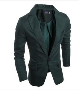 Katı Casual Blazers ve Takım Ceketler Casual Erkek Tasarımcı Blazer Tek Düğme Ofis Aşınma