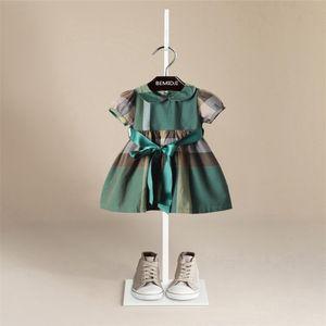 BEMIDJI Été Enfants Filles Robe 2017 Peter pan Collier Enfant A-ligne Bébé Robe À Carreaux Avec Ceintures Pour 1-7 Ans
