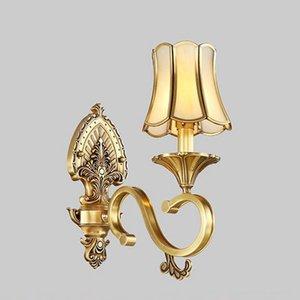 Luxo Europeu Pure Copper Sala de estar Lâmpada de Parede Villa Americano Royal Copper Quarto Parede Arandelas Luminárias de Parede Corredor de Iluminação