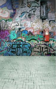 Retro Vintage Graffiti Fotografía de la pared de fondo Impreso Niños Niños Foto Studio Imagen Disparar Telones de fondo de piso de ladrillo