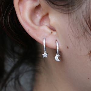 Yeni takı şık rhinestone crecent ay yıldız küpe sevimli grils kalp moda gerçek 925 gümüş küpe sıcak noel hediyeleri