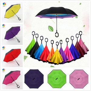 Сплошной Цвет Настраиваемый Логотип Двойной Слой УФ-Защиты Обратный Зонт Большая C-Hook Ручка Для Автомобилей Пляжные Зонты Солнечный Зонт