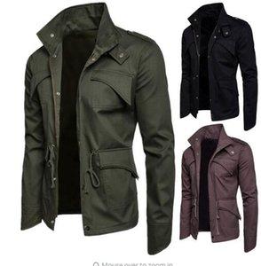 Mens algodão gola leve frente Zip Jacket Amy Verde Outerwear Moda Brasão