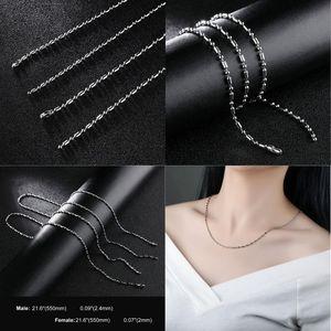 Нержавеющая сталь цепи Neckace ювелирные изделия титана стали 2 мм и 2,4 мм цепи ожерелья Для мужчин и женщин ювелирные изделия оптом-0711WH
