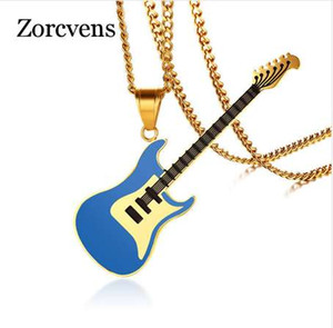 ZORCVENS Guitar Necklace for Men / Women Music Lover Gift Black / Gold Цвет Нержавеющая сталь Подвеска Цепь Hip Hop Rock Jewelry