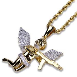 Hip Hop Kupfer Gold Silber Farbe Überzogen Iced Out Micro Pflastern CZ Stein Engelsflügel Anhänger Halskette für Männer Frauen
