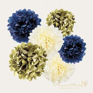 Экологичный 11pcs / Set Gold Dark Blue Paper Flower кисточкой Garland конфетти Diy партии Выпускной Пол Reveal Декоративные товары