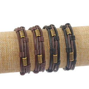 1Pcs Black Brown Leather With Antique Bronze Small Cylinder Charm Bracelet Bangle for Men Women Adjustable Jewelry