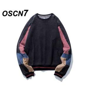 OSCN7 di alta qualità rosa colore felpa uomo moda casual streetwear felpa da uomo splicing maniche felpa uomini