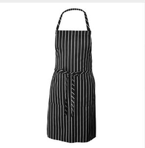 Men Adjustable Adult Black Stripe Bib Apron With 2 Pockets Chef Waiter Kitchen Cook