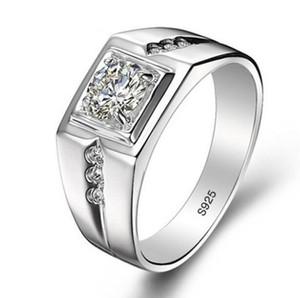 Реальные стерлингового серебра 925 кольца для человека горячие продажи мужчины свадебные ювелирные изделия кольцо 0.75 Ct CZ Diamant обручальное кольцо