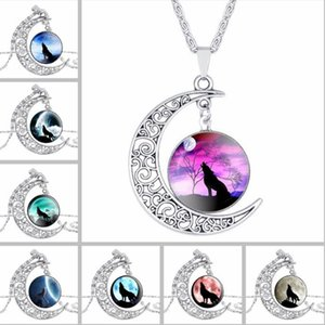 DHL Moon Time Gemstone Silver Necklace Wolf Totem Retro Alloy Hollow Out Colgante Collar Retro Aleación Cadena Joyería Regalo de Navidad