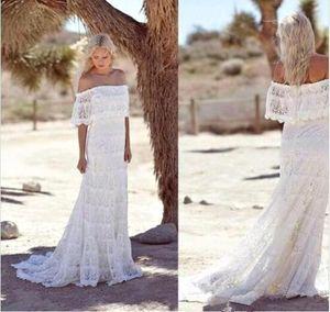 Off плеча шнурка Оболочка Чехи Свадебные платья Ruffles Sweep Поезд Summer Beach Страна Плюс Размер Свадебные Свадебные платья BA2935
