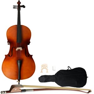 4 4 Full Size Acoustic Cello with Case Bow Rosin Wood Color fit for the adults