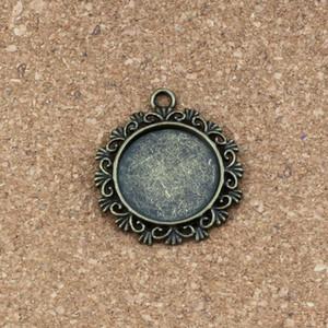 Круглые фоторамки подвески-подвески 50 шт. / Лот 30x34 мм ювелирные изделия из сплава DIY Fit браслеты ожерелье серьги античное серебро / бронза A-333