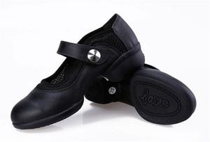 Mulheres Malha Inset Couro Genuíno Sapatilhas de Dança Moderna Sapatos de Sola De Borracha Macia Modern Dance Jazz Shoes