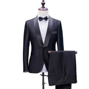 2018 Erkekler Düğün Takımları Fit Bir Düğme Ile İki Adet Pantolon Yün Karışım Smokin Moda Damat İş Kariyer Takımları
