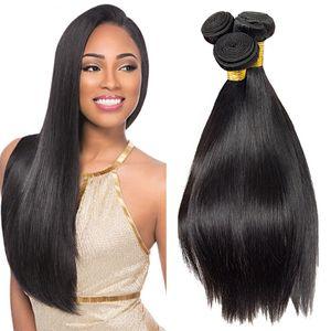 Бразильский Kinky прямые волосы Плетение Объемные 3 шт / много 100% Real 8a Human Grade волос Virgin волос Оптовая Связки бразильские прямые Связки