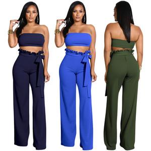 Pantalones de dos piezas Vestidos de moda para mujer Vestido ajustado sexy Color sólido Profundo con cuello en V Monos Mujer Ropa Conjuntos de dos piezas Lady Romper