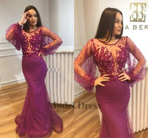Major Beadings 2018 Purple Prom Dresses Sheer Neck Poet Illusion Maniche lunghe Sirena Vedere attraverso Tulle Sexy Celebrity Evening Party Gowns
