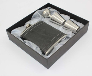 50sets lot High quality 6oz black leather hip flask stainless steel Whiskey flask gift set