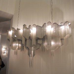 Новый проект Stream tassel light, алюминиевая цепочка, винтажная металлическая люстра из алюминия ручной работы для гостиной