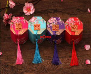 100pcs lot Fast Shipping New Chineses Double Happiness Candy Box Party Favor Packing Chocolate Packaging With Tassels F061503