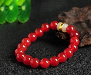 Bracciale in agata rossa naturale 12mm e bracciale in giada giada con giada in oro Tian Yu