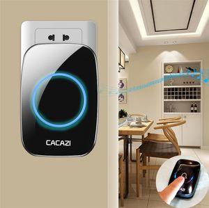 CACAZI New campainha sem fio 300M impermeável remoto UE AU UK EUA plug inteligente Campainhas Chime bateria 1 2 Botão 1 2 3 AC receptor