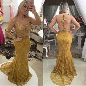 2018 Elegant Lace Gold Long Sleeves Mermaid Evening Dresses Beaded Sexy Illusion Sheer Back Sexy Vestidos De Fiesta Prom Party Gowns
