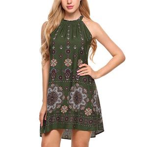 Floral Dress Bohemia Print Womens Holiday Sleeveless Ladies Maxi Long Summer Print Beach Dress Swimwear for Woman