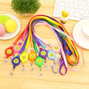 Wholesale Decorative Neck Strap Lanyard With Smiling Face Plastic Clip For Office ID Badge Holder Multi Color