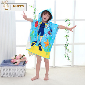 Dibujos animados lindo Colsplay Superfine Fiber Printing Niño con capucha de la capa Infants Young Children Cloak Swim Beach Towel Rub Body Robes 120 * 120cm