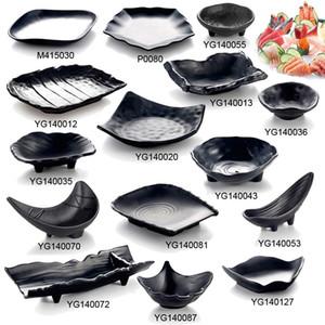 Melamine Dinnerware Dinner Plate Frost Black Shaped Plate Restaurant Porcelain Imitation A5 Melamine Tableware Snack Plate