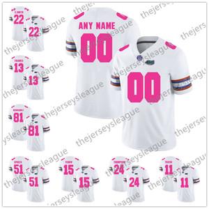 Custom Florida Gators 2018 Mother Days Pink White Orange Cosido Cualquier nombre Número Tebow Franks E.Smith NCAA College Football Jerseys S-3XL