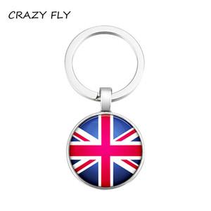 CRAZY  United Kingdom Flag Pattern Key Chain Car Keyring Holder Bag Pendant Charm Glass Keychain Jewelry Wholesale Price 2018