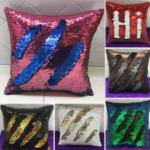 Mermaid Double Sequin Kissenbezug Cover Glamour Square Kissenbezug Kissenbezug Home Sofa Auto Weihnachtsdekoration Ohne Kern WX-P01