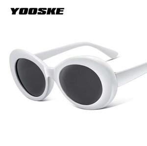 YOOSKE Kadınlar Clout Gözlük Camları Erkekler NIRVANA Kurt Cobain Güneş Gözlüğü Kadın Erkek Oval Güneş Gözlükleri Siyah Beyaz Gözlük UV400