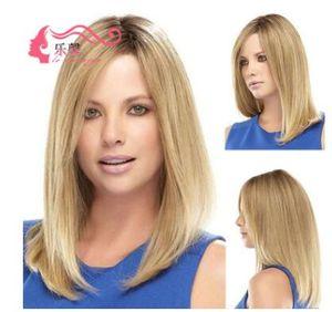 2018 nuevos productos, pelucas europeas y americanas decoloración gradual, loción de pelo medio longitud recta, pelucas establecen fabricantes completos