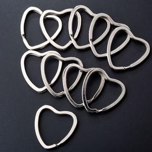 10pcs bricolage métal amour coeur étoiles fleurs en forme de bague fendue porte-clés porte-clés accessoires porte-clés connecteur trousseau porte-clés