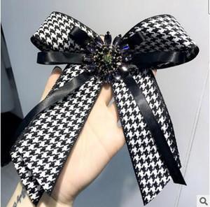 Große Bowknot Broschen Stifte übergroße Plaid Bow Bowknot Brosche Pin für Mädchen Hemd Kragen Zubehör Geburtstag Party Hochzeitsgeschenke