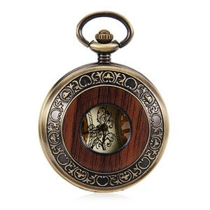 Retro Luxury Wood Circle Skeleton Pocket Watch Men Women Unisex Mechanical Hand-winding Roman numerals Dial Nice Gift