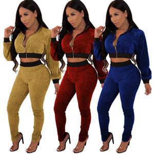 Ücretsiz Gemi Kadınlar Moda Topraklar Eşofman Fermuar Beyzbol Ceket + Pantolon Iki Parçalı Setleri Rahat Kıyafet 2 Adet Suits
