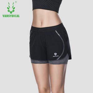 Shorts deportivos para mujeres Running Yoga Fitness Workout Gym Doble capa Stretch Bottoms Mujer Vansydical corto