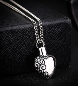 DHL Memorial Cremation Ashes Urn Necklace Love Heart Silver NecklaceLocket Pendant Bone Ash Jewelry For Men Women Pendant Christmas Gift
