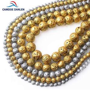 Camdoe danlin صخرة الحجر الطبيعي مطلي الذهب والفضة الحمم البركانية جولة فضفاض الخرز 4 6 8 10 ملليمتر صالح diy سحر مجوهرات صنع