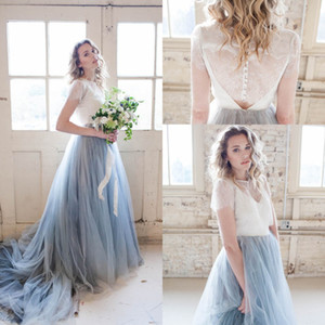 Dusty Bleu Tulle Pays Robes de mariée 2020 Traîne manches courtes mariage Bohemian pas cher Sheer __gVirt_NP_NNS_NNPS<__ Robes de mariée