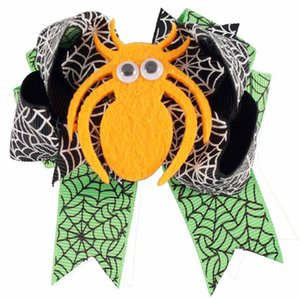 20pcs 3 .5inch Carino Halloween Hair Bow Nastro nero e verde Spider Hairgrip Kids Hairpins Accessori per capelli Regalo di Halloween