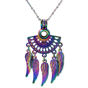 C842 COLORS Rainbow Color Fan shapes Filigree Bohemian Leaf Stainless Steel Chain- Luck Gift Essential Oils Diffuser
