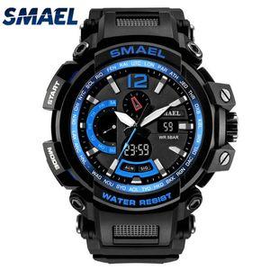الرجال الساعات SMAEL العلامة التجارية الكوارتز المعصم الرقمية ووتش الصمام الرجال للماء الرياضة الساعات relogio masculino